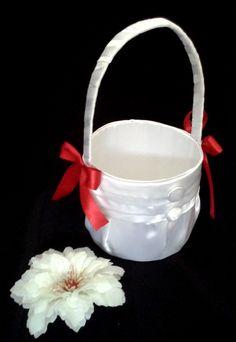 CE_54 Cesta Blanco Rojo # bodas para arras anillos o petalos