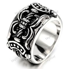 Vintage Punk Finger Ring Titanium Steel Wide Ring Finger Décor Cool Jewelry for Men DJA-271137