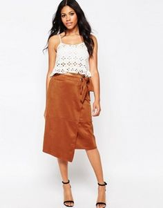 Glamorous Faux Suede Wrap Front Skirt