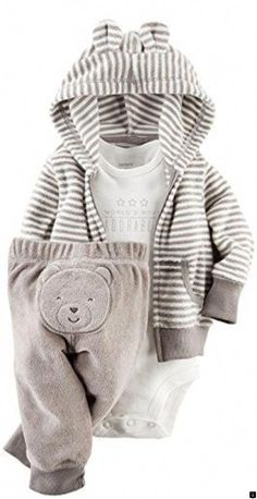 3e3452b13 Carter's 3 Piece Terry Cardigan Set (Baby) - Gray Carter's is the leading  brand of children's clothing, gifts and accessories in America, selling  more than ...