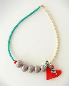 necklace - Xanthippe Tsalimi Diy Necklace, Tassel Necklace, Pendant Necklace, Necklaces, Fabric Jewelry, Beaded Jewelry, Handmade Accessories, Handcrafted Jewelry, Baubles And Beads
