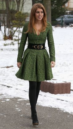 Princess Beatrice of York arrives at the British School in Berlin, Germany on January 17, 2013.