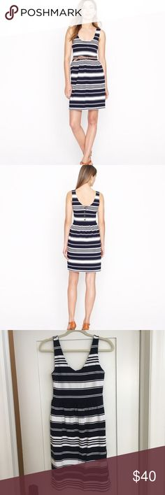 J. Crew Villa Dress in Stripe Size Small Super cute J. Crew dress! This dress boasts a button-up back and a fitted bodice with a flirty skirt. Done in a classic nautical stripe, this breezy little piece sails smoothly from the beach to a backyard barbecue or anywhere the day takes you.  -Cotton/rayon blend -Falls above knee -Bra keeps (picture 7) -Back button closure -Machine wash J. Crew Dresses