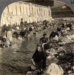 Washing in the River, Nice France Les lavandières du Paillon Nice