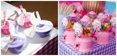 Mesa do bolo para festa infantil com mini baleiro e panelinhas de doces - Maria Eduarda - 02 anos