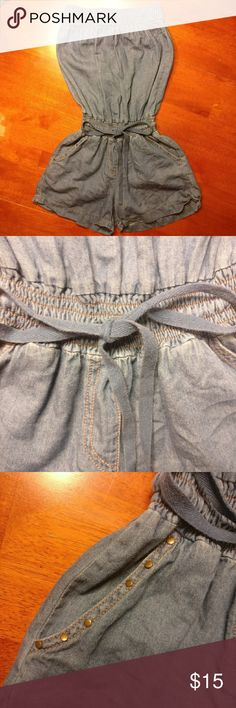 "Dreaming Out Loud by Selena Gomez Cotton Romper Dreaming Out Loud by Selena Gomez  100% cotton romper  Super soft/ light denim blue fabric  Draw string waist  Studs on one pocket  Strapless style with elastic  Super cute!  Measurements laying flat & unstretched:  Chest (across top): 10.5"" (note, fully stretched it goes to about 15.5/ 16"") Length: 24"" Selena Gomez Pants Jumpsuits & Rompers"