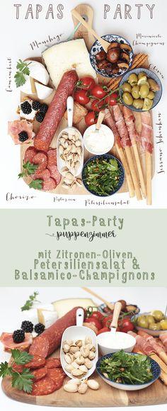 Tapas-Party mit Zitronen-Oliven, Petersiliensalat und Balsamico-Champignons