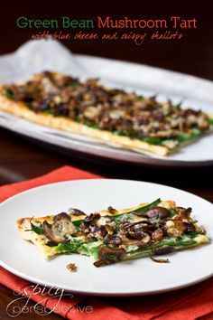Kinda like green bean casserole in a tart, but tons better...Green Bean Mushroom Tart with Blue Cheese!