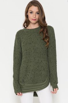 Ribbed Confetti Knit Winter Sweater