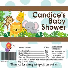 Safari Animals Baby Blue and Brown Shower Candy by toadallydigital