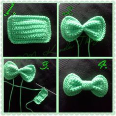 FREE PATTERN - Crochet Hair Bow with Photo Tutorial Created by Photo Grid. Android iPhone Just a cool tip I use when I crochet bows; make a rectangle, take a strand of the same color yarn and tie a couple of times tightly (instead of wrapping) aroun… Appliques Au Crochet, Crochet Bow Pattern, Bonnet Crochet, Crochet Motifs, Crochet Flower Patterns, Crochet Flowers, Tutorial Crochet, Crochet Ideas, Headband Pattern