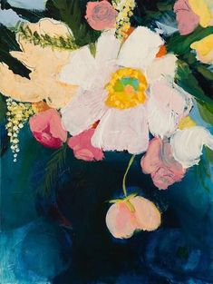 Bright flowers hang over a jewel-like deep blue background in A Soul, an original acrylic painting on cradled hardboard by artist Ruth-Anne Siegel.