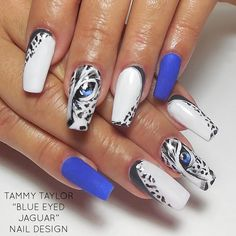 "♥ Tammy Taylor ""Blue Eyed Jaguar"" Nail Design Step by Step"
