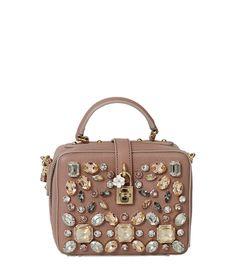 33bab0597612 Dolce & Gabbana Jewel Embellished Crossbody Brown Crossbody Purse,  Crossbody Shoulder Bag, Leather Crossbody