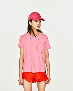 T-SHIRT WITH FRILLED POCKET-View All-T-SHIRTS-WOMAN | ZARA United States