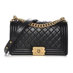 CHANEL Lambskin Quilted Medium Boy Flap Black ❤ liked on Polyvore featuring bags, handbags, shoulder bags, quilted purses, chanel shoulder bag, evening handbags, shoulder hand bags and chain strap handbags