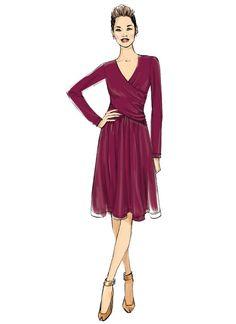 B6411 Butterick ruched surplice dress sewing pattern