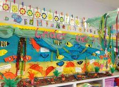 Under the Sea! Crabs & sea anemones adorn the kindergarten classroom wall