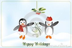 Happy holidays card with penguins illustration - available as jpg and eps-file