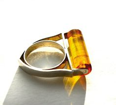 Cylinder Baltic Amber and Silver Ring by IQJewelry on Etsy