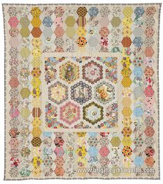 Quilts & purse patterns using hexagons, clamshell & English medallion piecing & applique