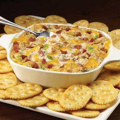 250g Frischkäse, 125g saure Sahne, 125g ger. Käse, 70g Schinkenwürfel, 1 Tasse Flühlingszwiebeln, 1 P. Zwiebelsuppe 25 - 30 Min in Ofen