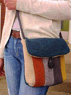 Recycled Wool Sweater Hip Messenger Bag-cross body strap - pdf Pattern