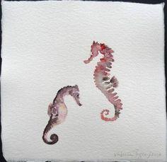seahorses rapsody watercolor on handmade paper / 20x21cm