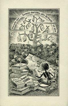 Bookplate by Karl Julius Weber (1767-1832) for B. E. Uttuslien, 1949