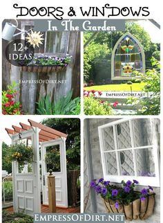 This idea gallery shows how to use old doors and windows in the garden to create focal points, gates, arbors, and garden art. Garden Windows, Garden Doors, Garden Junk, Garden Deco, Old Doors, Windows And Doors, Garden Crafts, Garden Projects, Wooden Garden Planters