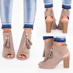 Shoes - ❤️RESTOCK❤️ Taupe Block Heel Sandal Bootie Zip