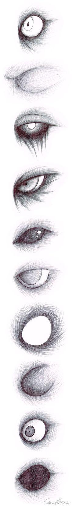 Creepypasta Eye Sketches by Samrot