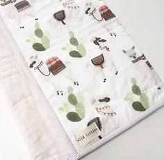 Modern Wholecloth Baby Quilt-Llamas Cactus Mudcloth Print-Baby