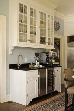 Coffee Station with a wine cooler.  love the corbels