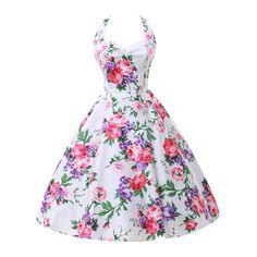 Audrey Hepburn style vintage halter print big swing summer dress robe vestidos women's party cocktail sexy 50s 60s dresses
