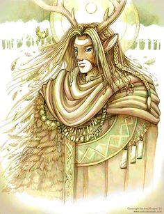 Cernunnos, Celtic horned god of fertility, vegetation. Associated with the stag.
