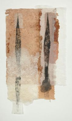 "Jennifer Davies Double Shift  Printing ink on handmade paper 58"" x 32"""