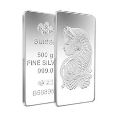 Lot of 2 - 500 gram PAMP Suisse Lady Fortuna Silver Bar .999 Fine