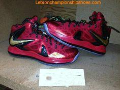 Nike LeBron 10 PS Elite Finals Away Red Black Metallic Gold
