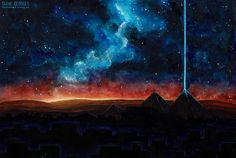 Watercolor spacey view of the great pyramid of Gizah. Beautiful red and blue night sky over the antique monuments. Monuments, Night Skies, Red And Blue, Concept Art, Northern Lights, Sky, Watercolor, Space, Antiques