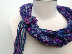 Infinity Chain Scarf Crochet Scarf Blue and Purple by Sewstacy, $20.00