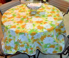 So FUN!!!  Vintage Mid Century Flower Tablecloth Round 1970s Yellow Orange White Green Hand Made Table Clohth
