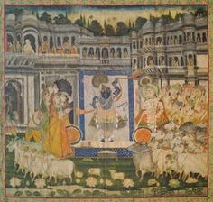 A large Indian Pichwai, probably Rajastan School, 19th century, depicting the Lord Krishna within a large palace complex, flanked my male and female devotees, with sheep and cattle by lotus ponds, within floral borders, gouache on linen, backed, 258 x 258cm - Price Estimate: £5000 - £7000