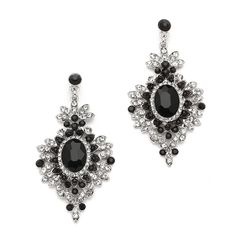 Retro Glam Black Crystal Drop Earrings for Prom or Bridesmaids