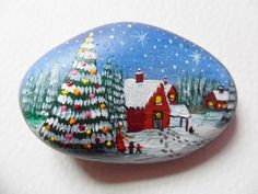 Christmas Village - Hand painted beach pebble paperweight