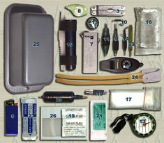 Survival Gear Home Made Kit...Knife Fire Starter Tarp Water proof Paper,5'of Duct Tape, Surgical Suture, Sling Shot , Cooking Tin, Scaple , Snare. $50.00 Fresnel Lens. Freezer Bags.Water Purifier Tabs ... and more!