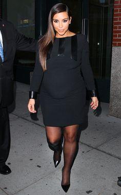 Pregnant Kim Kardashian - like the black tights with it