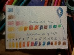 Soft color crayons Extracolor - some of the colors are missing, but it's a miracle I still have them after ....25 years! *up: Tientan color, missing lots of them. Lucky the colors complement each other between the two sets, notice that extracolor has no greens!