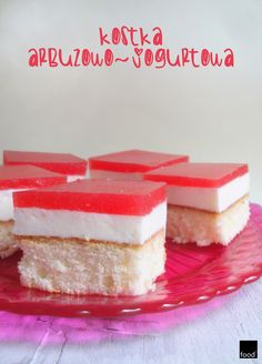 food²: Sponge-cake with yoghurt mousse and watermelon jelly.