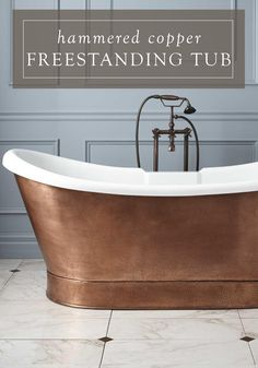 This elegant freestanding copper bathtub will be the perfect addition to your master bathroom makeover. Its eye-catching appearance is sure to add interest and sophistication to the space. Zen Bathroom, Master Bathroom, Bathrooms, Aqua Bathroom, Bathroom Tubs, Bathroom Colors, Bathroom Ideas, Steampunk Bathroom, Unclog Bathtub Drain